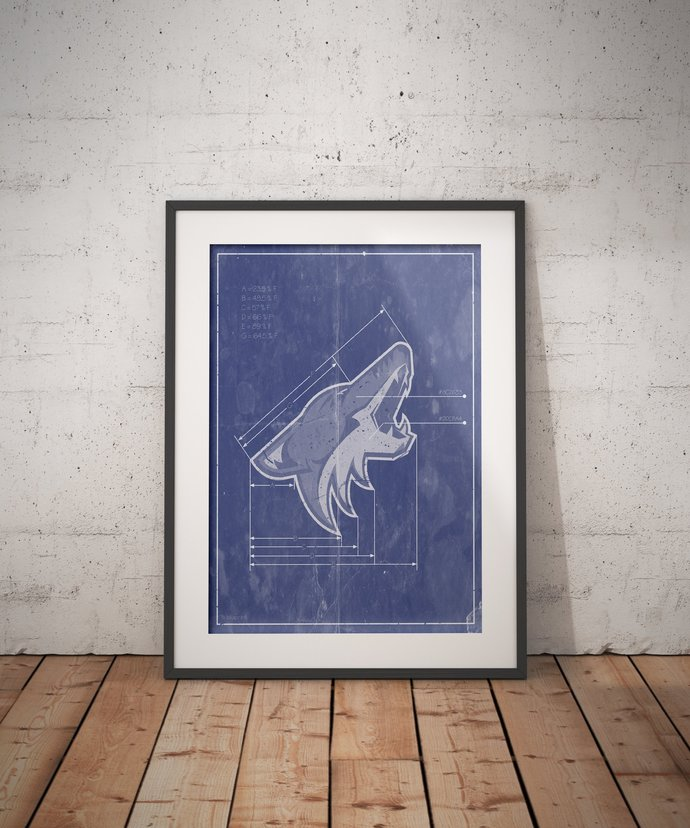 Arizona Coyotes logo schematic art print. 5x7 to 24x36 with free shipping. NHL