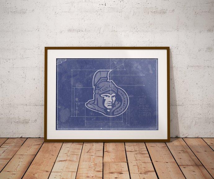 Ottawa Senators logo schematic art print. 5x7 to 24x36 with free shipping. NHL