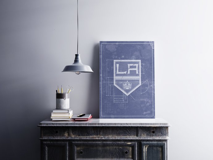 Los Angeles Kings logo schematic art print, 5x7 to 24x36 with free shipping. NHL