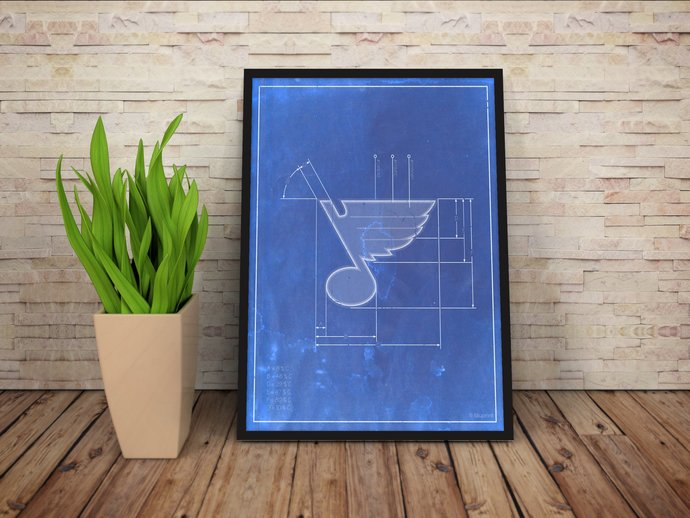 St. Louis Blues logo schematic art print. 5x7 to 24x36 with free shipping. NHL