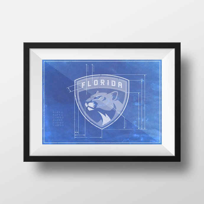 Florida Panthers logo schematic art print. 5x7 to 24x36 with free shipping. NHL