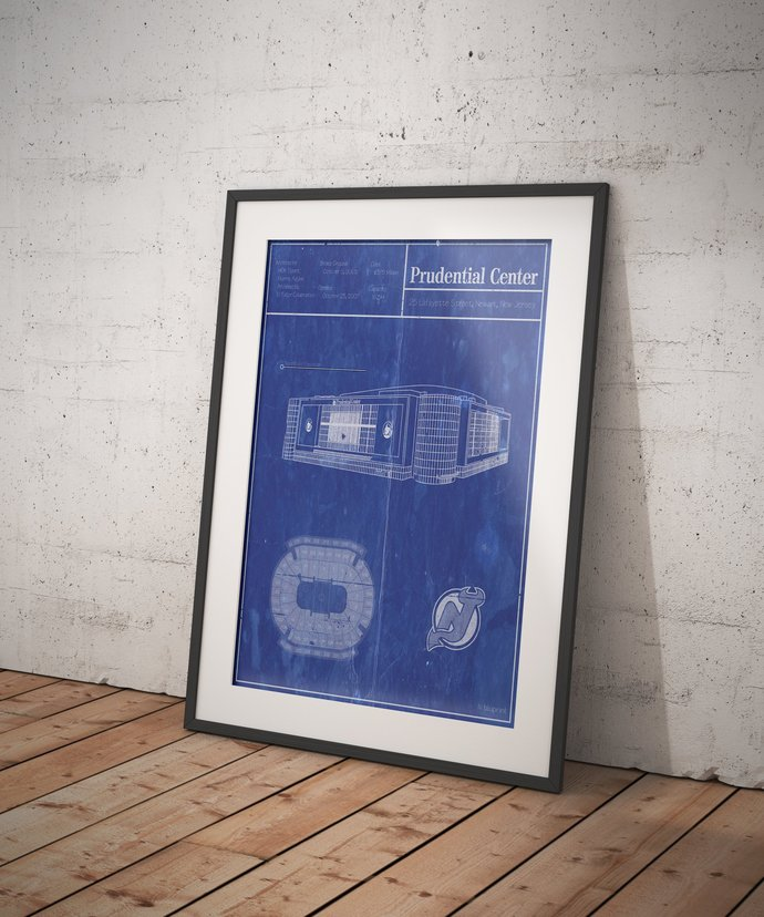 Prudential Center blueprint art print. 5x7 to 24x36 with free shipping. NHL