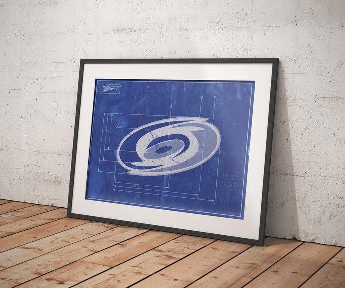 Carolina Hurricanes logo schematic print. 5x7 to 24x36 with free shipping. NHL