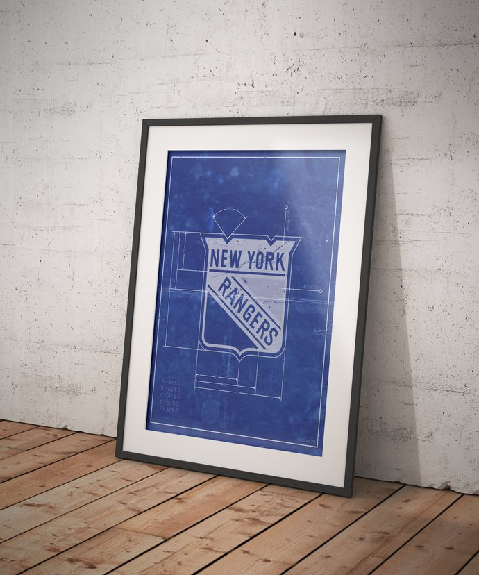 New York Rangers Logo Schematic art print. 5x7 to 24x36 with free shipping. NHL