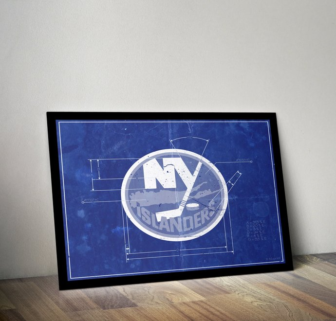 New York Islanders Vintage Logo Schematic Art Print. 5x7 to 24x36 Poster with