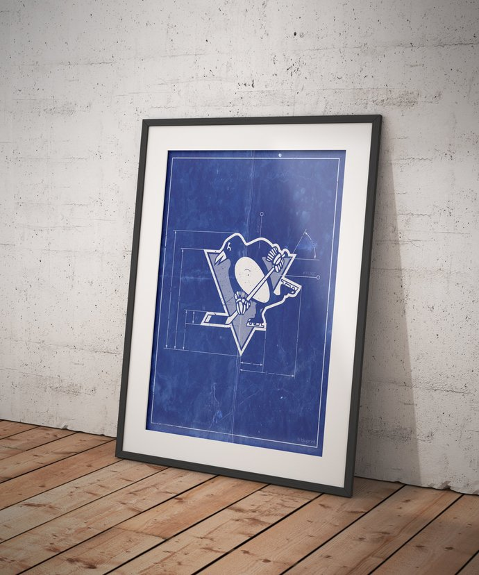 Pittsburgh Penguins vintage logo schematic art print. 5x7 to 24x36 with free