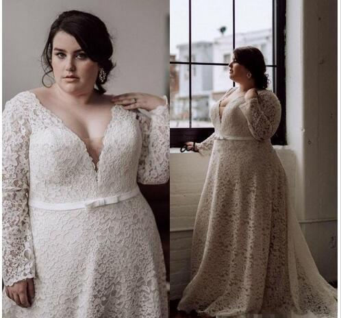 Modest Plus Size Wedding Dresses Long Sleeves V Neck A Line Court Train  Full Lace Bridal Gowns for Big Women