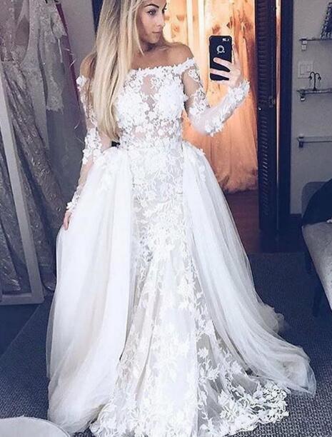 New Arrival Lace Wedding Dresses 2019 Detachable Skirt Off the shoulder Long