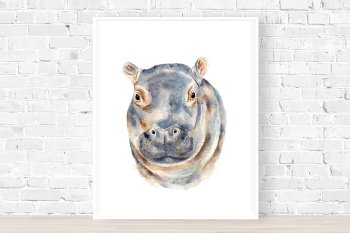 Hippo Print, Baby Hippo Gifts, African Animal Print, Hippopotamus Decal, Safari