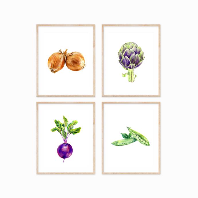 Vegetables Print Set of 4, Kitchen Wall Art, Kitchen Prints, Kitchen Decor, Food