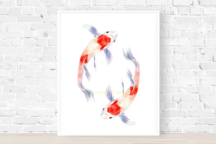 Koi Fish Print, Koi Painting, Koi Fish Art, Fish Gift, Fish Print, Swimming Fish