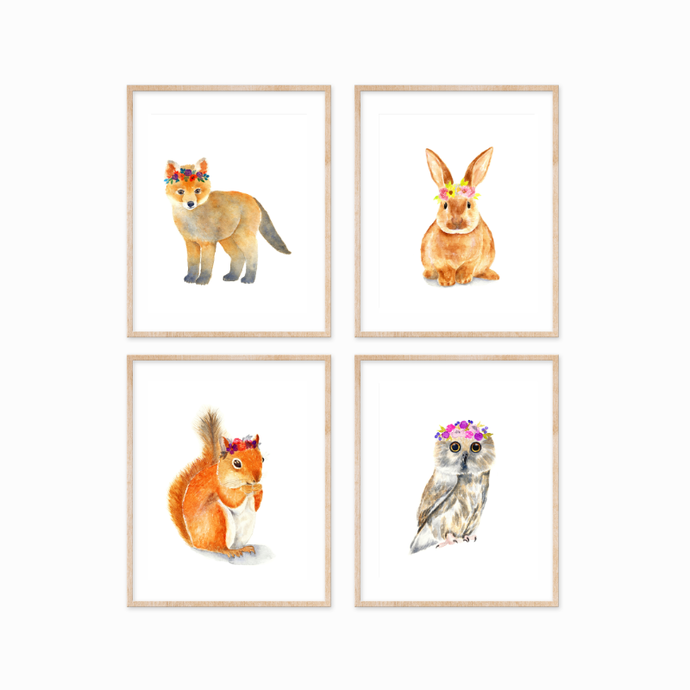 Set of 4 Woodland Animals with Flower Crowns Prints