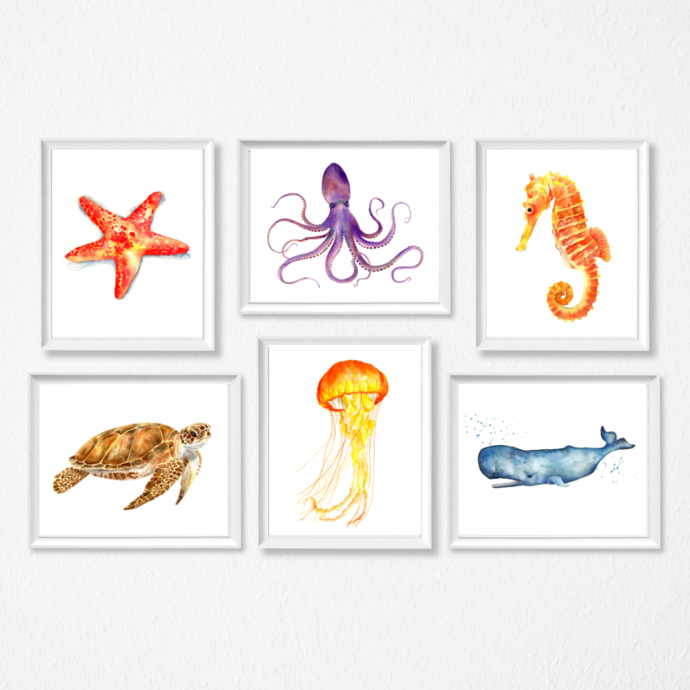 Sea Life Set of 6 Prints, Watercolour Sea Life, Select 3 Prints, Sea Creatures