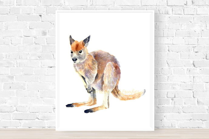 Wallaby Print, Watercolor Wallaby Print, Art for Home, Art for Office,