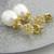 Golden Snowflakes Earrings - gold vermeil pearl cubic zirconia post drop white