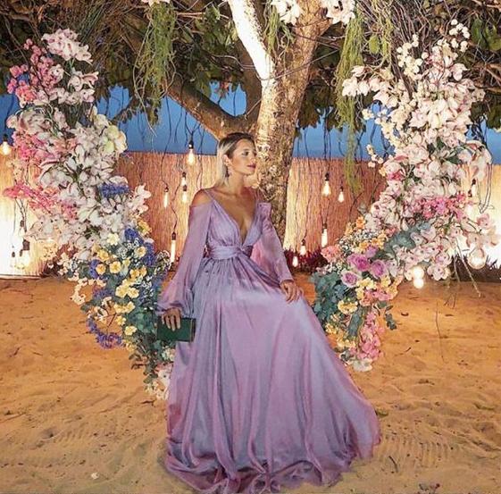 62f55387ff17 A-Line Deep V-Neck Long Sleeves Lavender by prom dresses on Zibbet