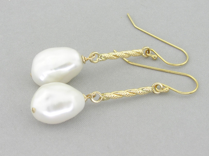 Goldenrod Earrings - gold filled baroque freshwater pearl drop white romantic