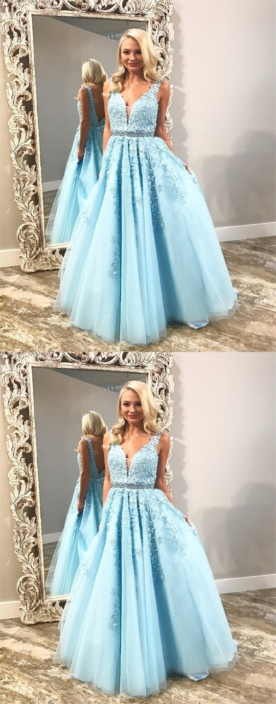 modest light blue tulle prom dresses, princess graduation party gowns with