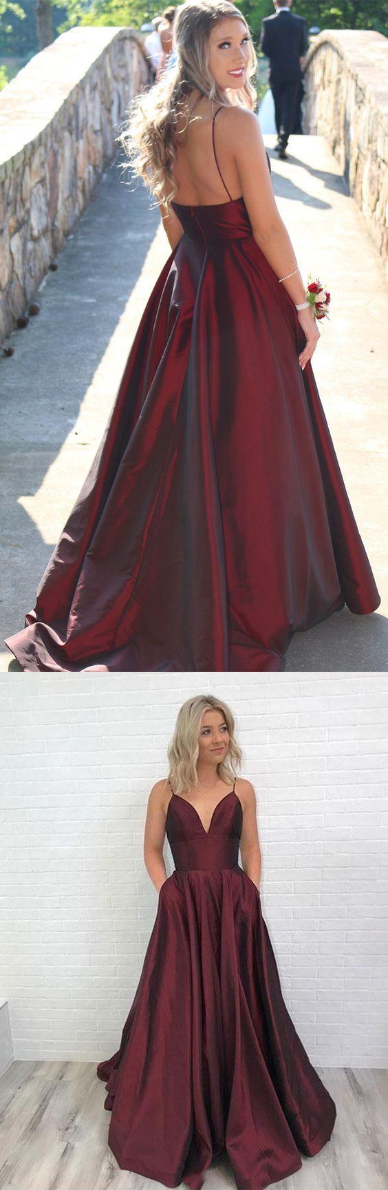 spaghetti straps burgundy long homecoming dresses prom dresses formal evening