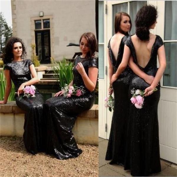 Black Sequin Sparkly Popular Custom Cheap Bridesmaid Dress,wedding guest dress