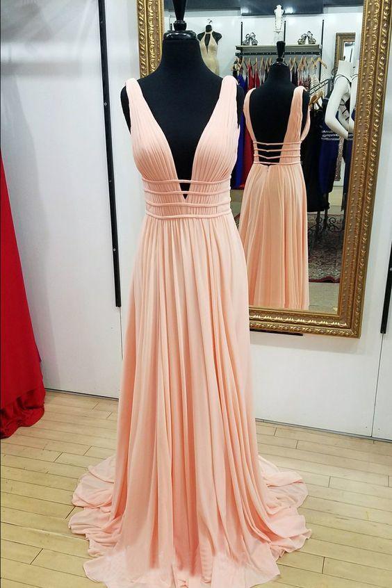 Princess V Neck Peach Long Prom Dress