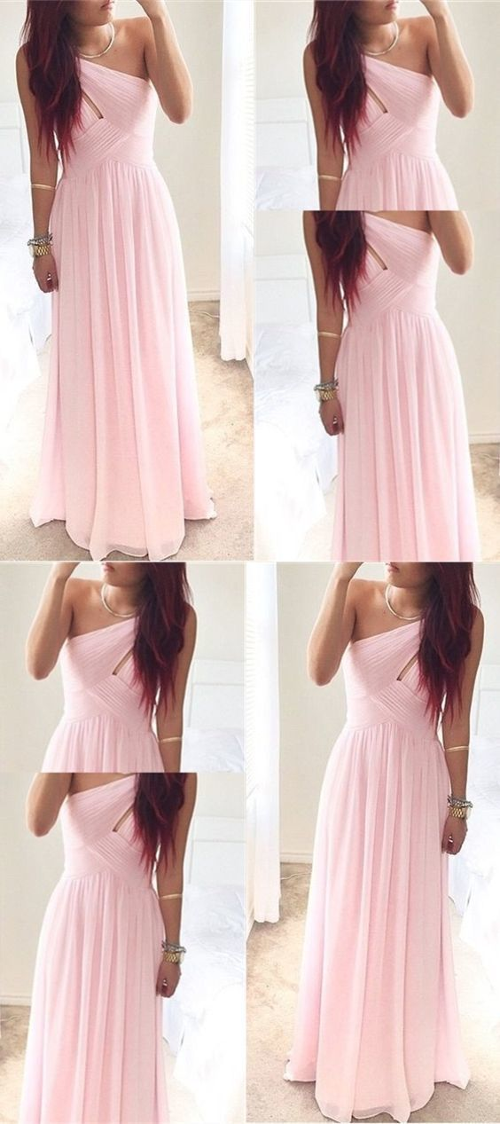 A-Line Floor Length Chiffon One Shoulder Pink Bridesmaid/Prom Dress With Ruched