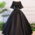 Black Satin Open Back Mid Sleeve Long Applique Evening Dress, Prom Dress