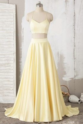Yellow Two Piece Halter Lace Satin Long Prom Dress