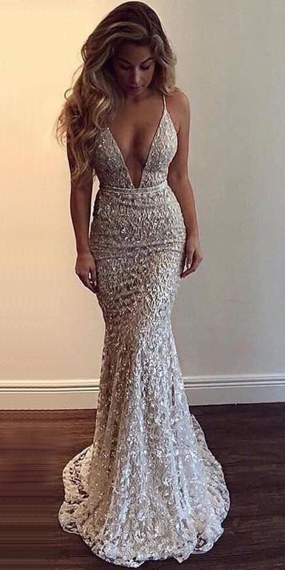 Popular V Neck Mermaid Open Back Long Evening Prom Dresses