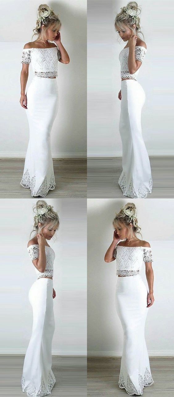 Two Piece Off-the-Shoulder Short Sleeves White Prom Dress with Lace