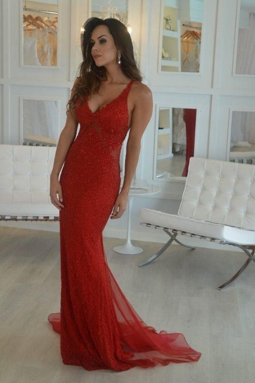 Mermaid Red Prom dress,sexy prom dress,Evening Dress,Charming prom dress, long