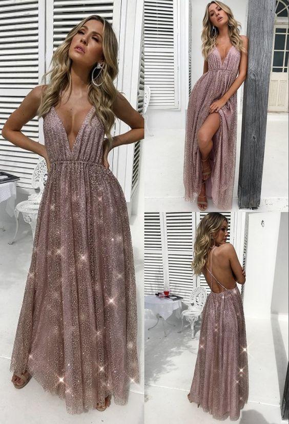 Fashion Spaghetti Straps Sleeveless Long Blush Prom Dress with Sequin