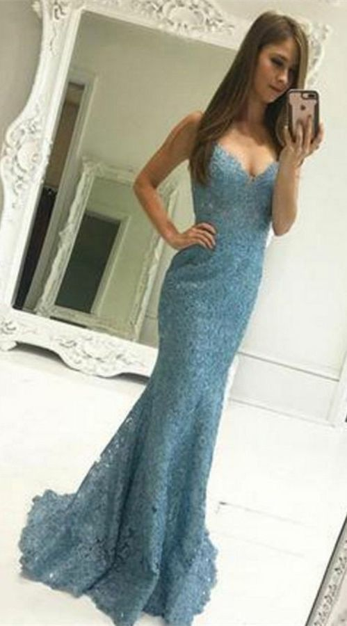 Mermaid Straps Sweep Train Blue Lace Sleeveless Prom Dress with Pleats