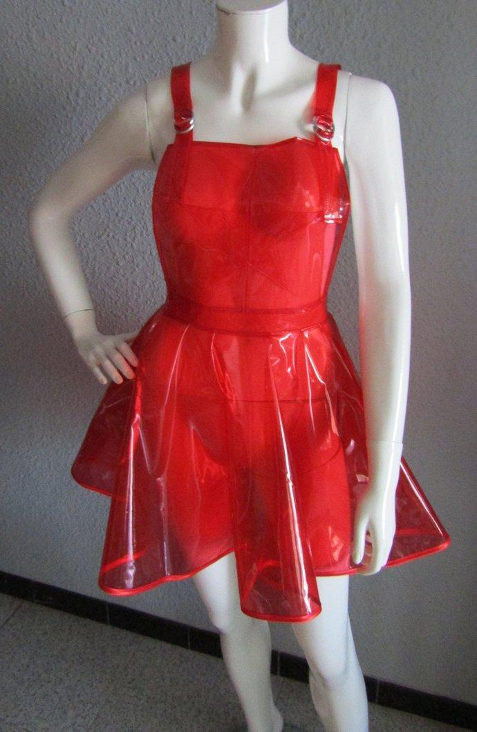 PVC Dungaree Pinafore Overalls Dress