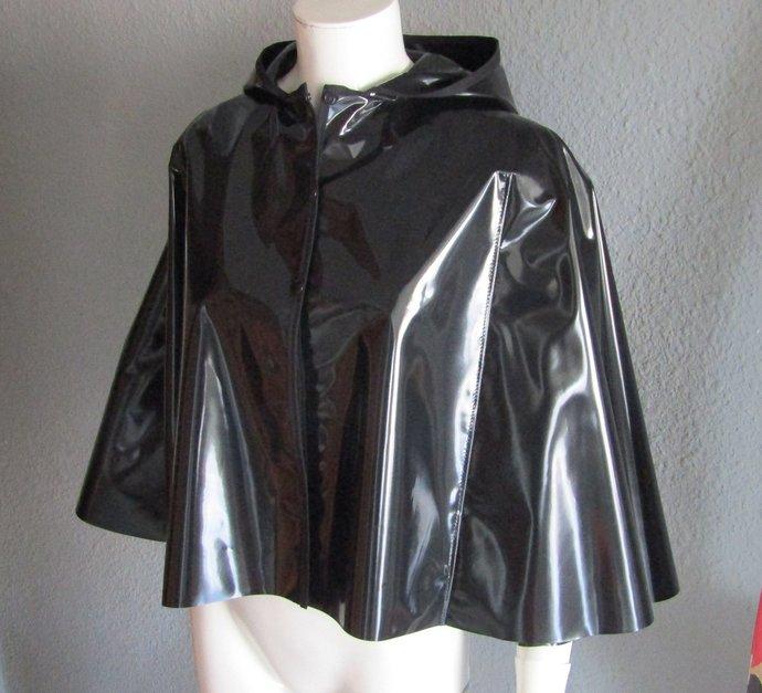 PVC Black Short Hooded Cape
