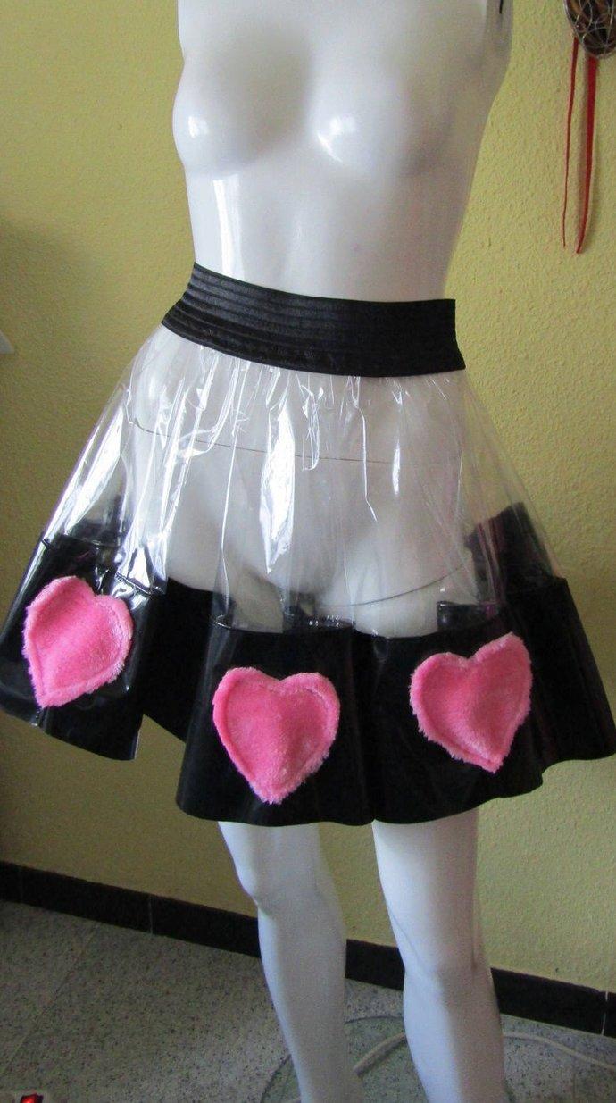 Transparent PVC Skirt & Fluffy Love Hearts Unisex