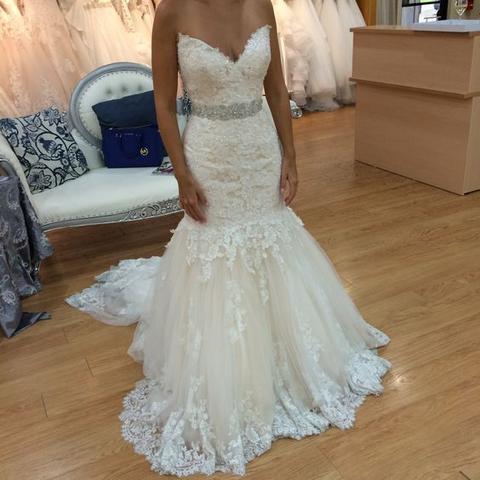 Charming V neck Appliques Tulle Mermaid Wedding Dress Vestido de novia