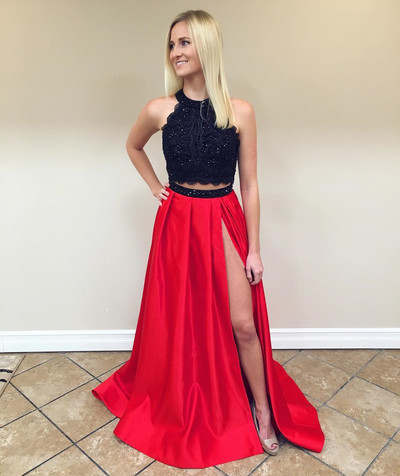 Charming O neck Black Top A Line Prom Dress, Sexy Split Appliques Long Prom