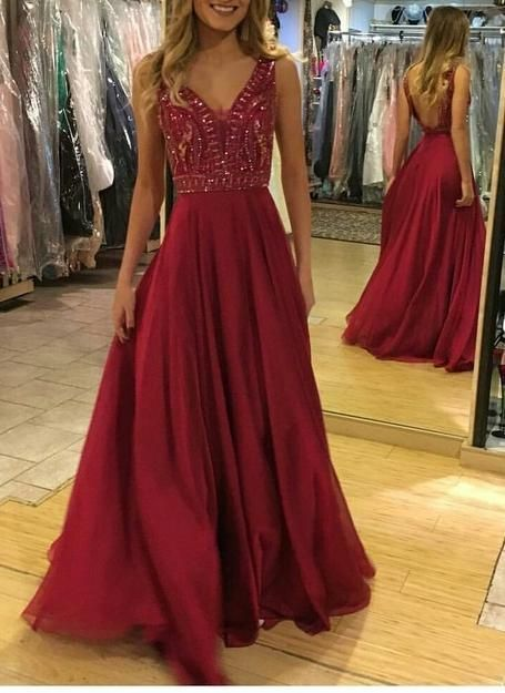Charming V Neck Open Back Evening Dress, Sexy Beaded Long Prom Dress