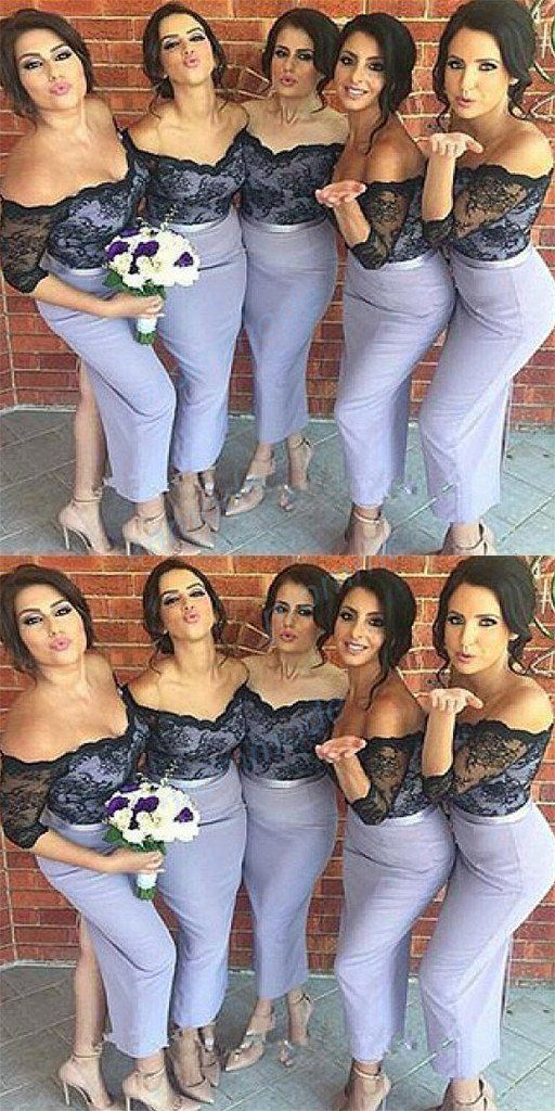 Sexy Black Lace Mermaid Bridesmaid Dress, Long Wedding Party Gown