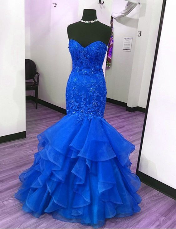 Sweetheart neck Tulle Mermaid Evening Dress, Sexy Appliques Long Prom Dresses,