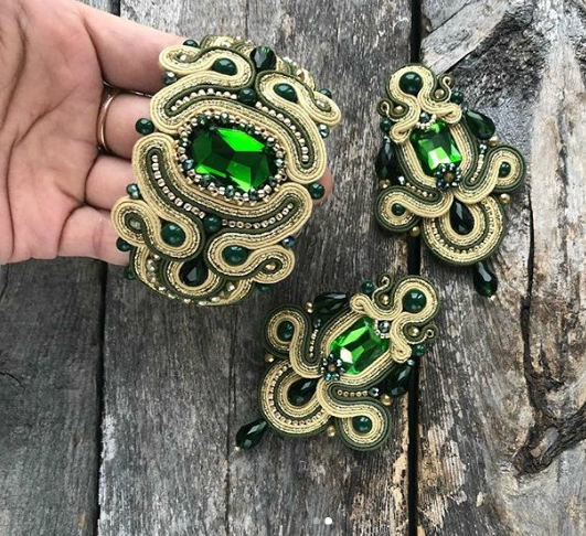 Handmade bracelet and earrings with crystals and luxury accessories in soutache