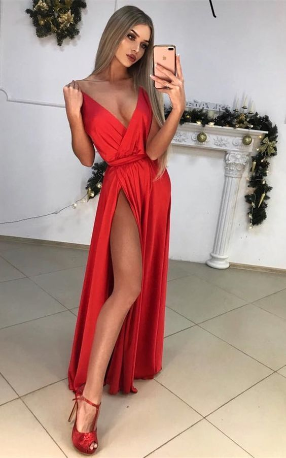 sexy red prom dress with split, fashion deep v-neck party dress with ruched,