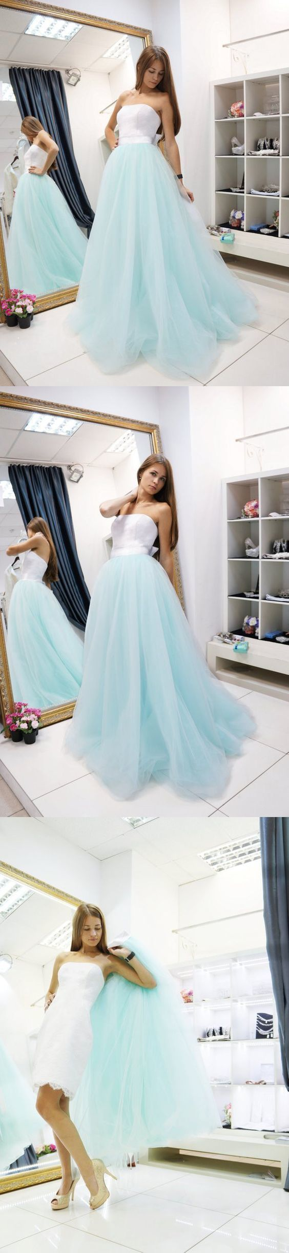 Elegant Strapless Green Tulle Evening Dress, Pretty White Lace Prom Dress with
