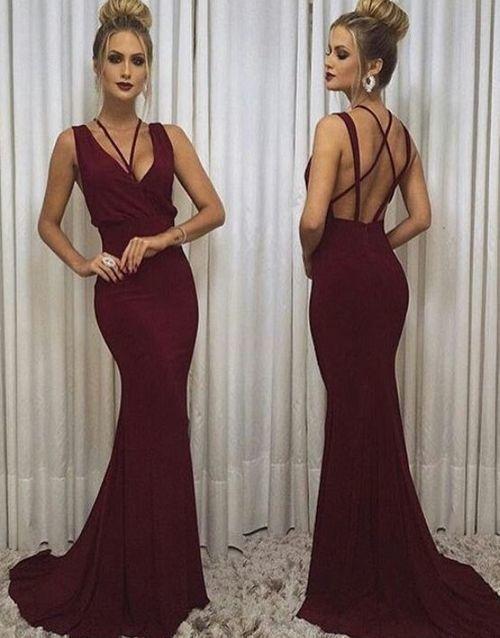 Open Back V neck Bugundy Mermaid Evening Dress, Sexy Long Prom Dress