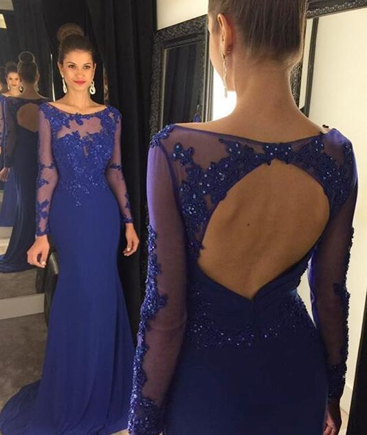 Modest Prom Gown,Royal Blue Prom Gown,Elegant Evening Dress,Chiffon Evening