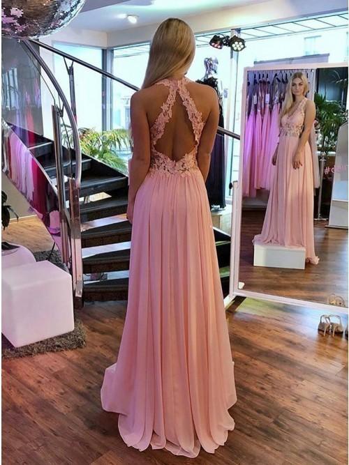 Pink Open Back Chiffon Evening Dress, Sexy Appliques Long Prom Dress