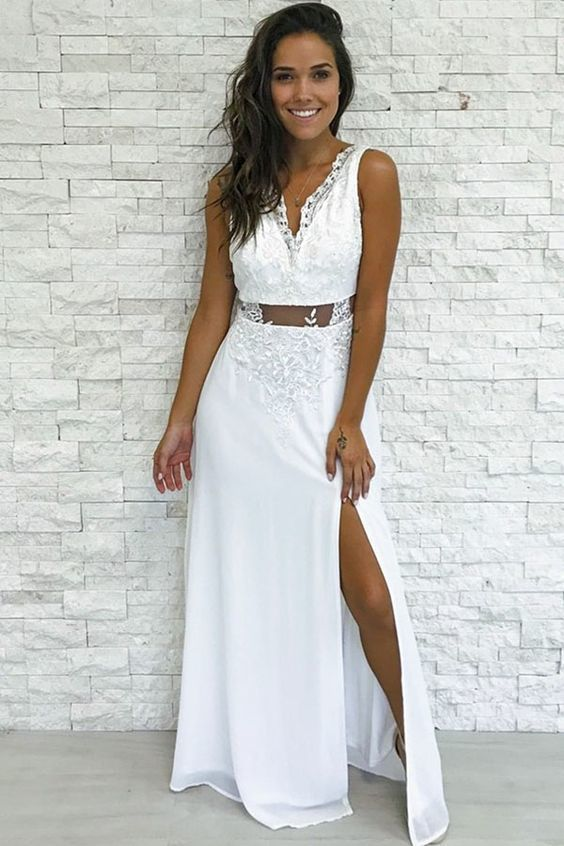 Sexy Appliques Evening Dress, Side Slit Long Prom Dress