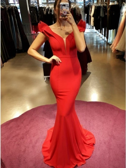 Sexy Red Mermaid Evening Dress, Custom Made Long Prom Dress, Formal Party Dress