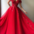 Custom Made Off the Shoulder Red Tulle Long Prom Dresses with Appliques
